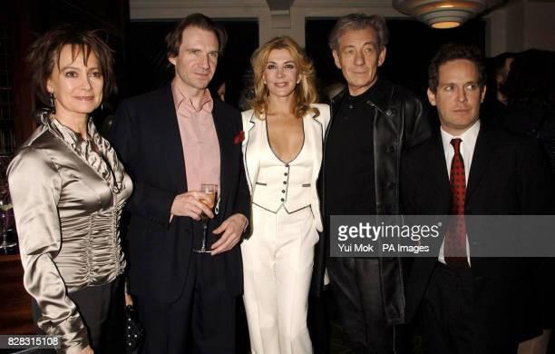 Francesca Annis Ralph Fiennes Natasha Richardson Sir Ian McKellen and Tom Hollander attend the Evening Standard British Film Awards 2005 Dinner at...
