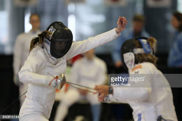 Francesca Bassa of Stanford makes a move against Simone Barrette of Air Force during the Division I Women's Fencing Championship held at the Albert H...