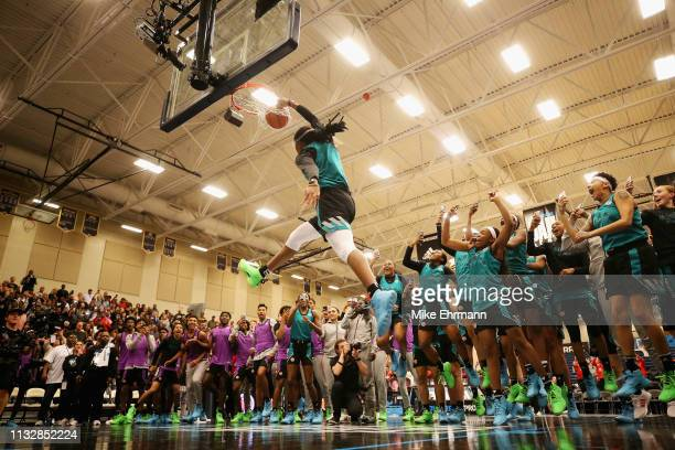 Francesca Belibi competes in the dunk contest during the 2019 Powerade Jam Fest on March 25 2019 in Marietta Georgia