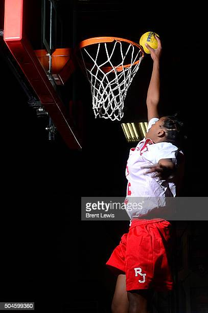 Francesca Belibi dunks a small ball after practice at Regis Jesuit High School on January 11 2016 in Aurora Colorado Belibi is a freshman at Regis...