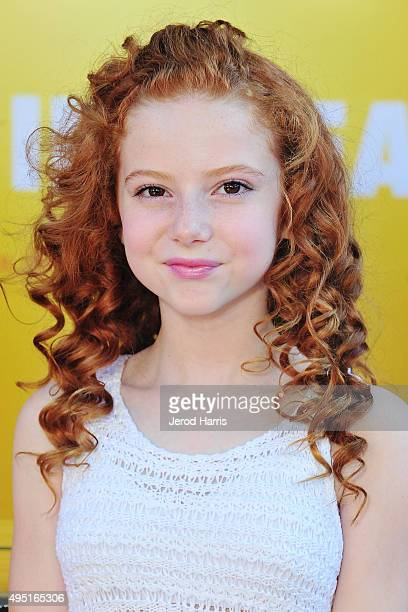 Francesca Capaldi attends 'The Peanuts Movie' cast photocall at Knott's Berry Farm on October 31 2015 in Buena Park California