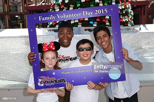 Francesca Capaldi Mekai Curtis Albert Tsai and Karan Brar attend the Family Volunteer Day at Disneyland on November 21 2015 in Anaheim California