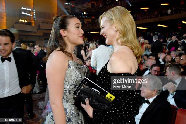 Francesca Carpanini and Laura Linney attend the 73rd Annual Tony Awards at Radio City Music Hall on June 9 2019 in New York City