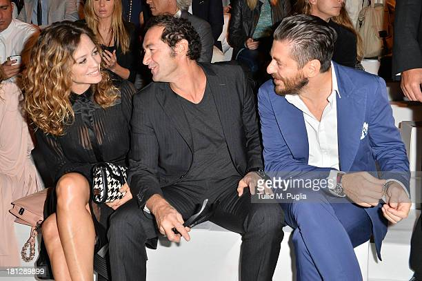 Francesca Cavallin and Stefano Remigi attend the Blumarine show as a part of Milan Fashion Week Womenswear Spring/Summer 2014 on September 20 2013 in...