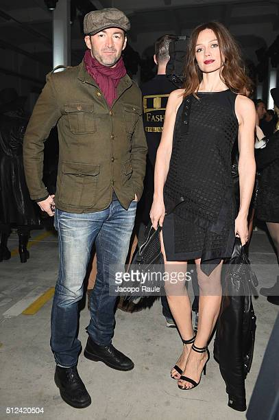 Francesca Cavallin and Stefano Remigi attend the Diesel Black Gold show during Milan Fashion Week Fall/Winter 2016/17 on February 26 2016 in Milan...