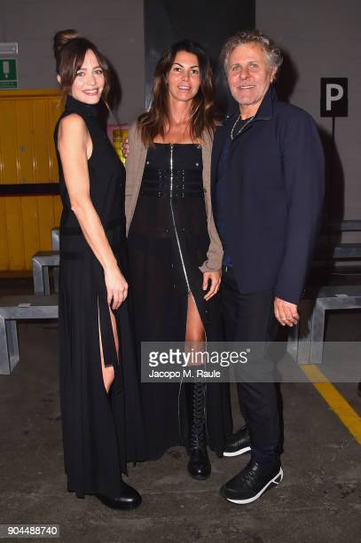 Francesca Cavallin Arianna Alessi and Renzo Rosso attend the Diesel Black Gold show during Milan Men's Fashion Week Fall/Winter 2018/19 on January 13...