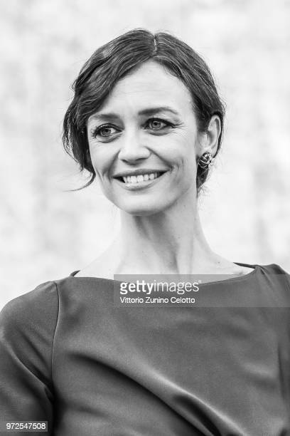 Image has been converted to black and white Francesca Cavallin arrives at Convivio 2018 on June 5 2018 in Milan Italy