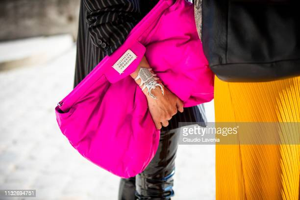 Francesca Chillemi fashion details is seen outside Maison Margiela on Day 3 Paris Fashion Week Autumn/Winter 2019/20 on February 27 2019 in Paris...