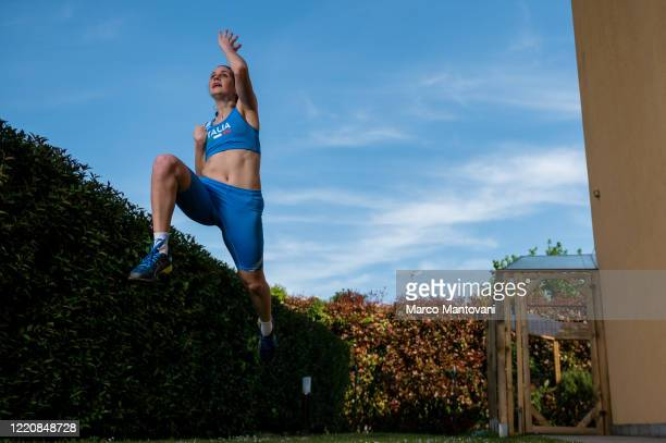 Francesca Cipelli trains in isolation on April 24 2020 in Mestre Italy Cipelli holds the italian record for long jump category T37 The coronavirus...