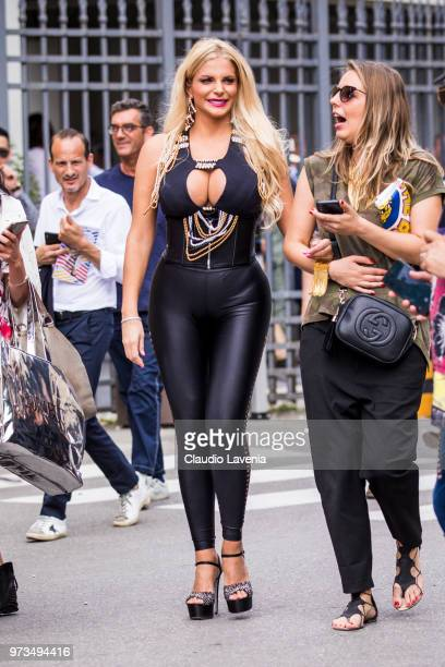 Francesca Cipriani wearing black top and leather pants is seen during the 94th Pitti Immagine Uomo at Fortezza Da Basso on June 13 2018 in Florence...