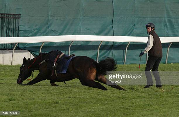 Francesca Cumani after she slipped off her lead pony after the Cumanitrained horses galloped the Flemington racecourse Melbourne 31 October 2006 THE...