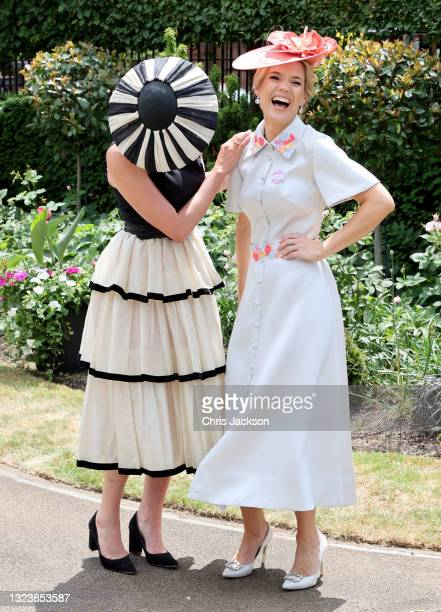Francesca Cumani and Charlotte Hawkins attend Royal Ascot 2021 at Ascot Racecourse on June 16, 2021 in Ascot, England.