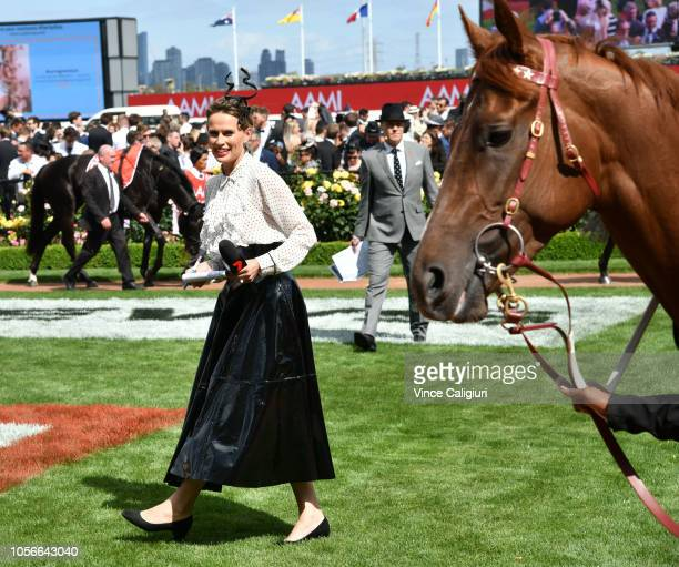 Francesca Cumani is seen during Derby Day at Flemington Racecourse on November 3 2018 in Melbourne Australia