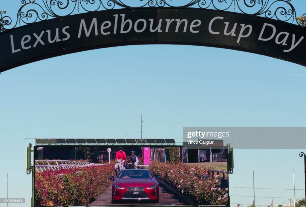Francesca Cumani is seen riding alongside Kate Waterhouse driving the Lexus LC 500 during the VRC Melbourne Cup Sponsorship Announcement at Flemington Racecourse on February 13, 2018 in Melbourne, Australia. The VRC announced global luxury lifestyle brand Lexus as the new Melbourne Cup Principal Partner at Flemington Racecourse.
