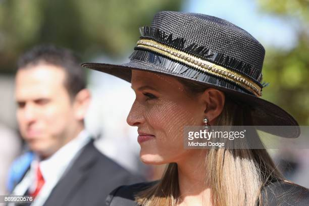 Francesca Cumani of Channel Seven arrives on Derby Day at Flemington Racecourse on November 4 2017 in Melbourne Australia