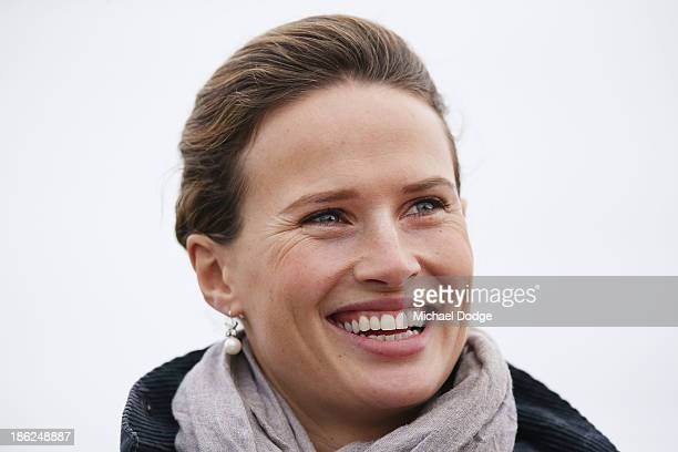 Francesca Cumani reacts during trackwork at Werribee Racecourse on October 30, 2013 in Melbourne, Australia.