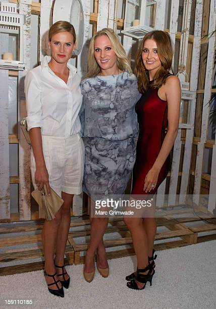 Francesca Cumani, Zara Phillips and Kate Waterhouse during the Magic Millions Opening Night cocktail party at Surfers Paradise on January 8, 2013 in...