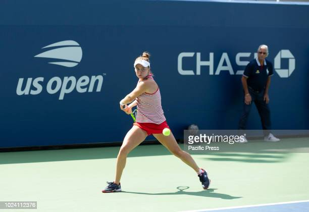 Francesca Di Lorenzo of USA returns ball during qualifying day 3 against Antonia Lottner of Germany at US Open Tennis championship at USTA Billie...