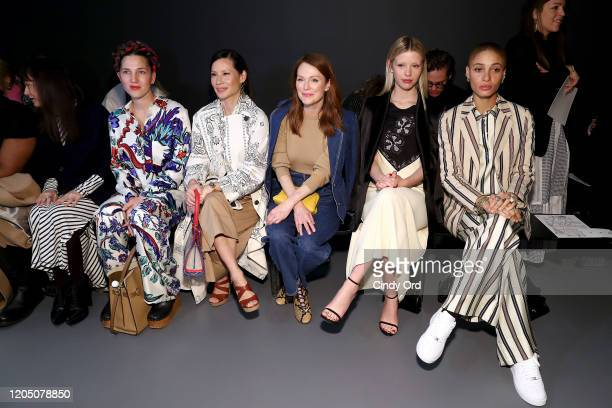 Francesca DiMattio, Lucy Liu, Julianne Moore, Mia Goth, and Adwoa Aboah attend the Tory Burch Fall Winter 2020 Fashion Show at Sotheby's on February...