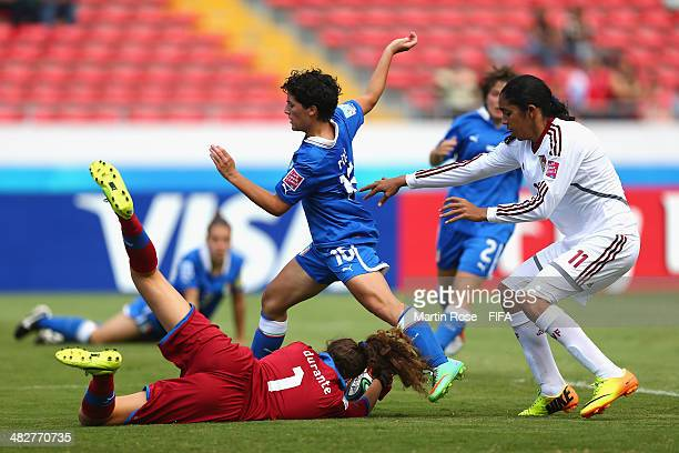 Francesca Durante goalkeeper of Italy makes a save during the FIFA U17 Women's World Cup 2014 3rd place play off match between Venezuela and Italy at...