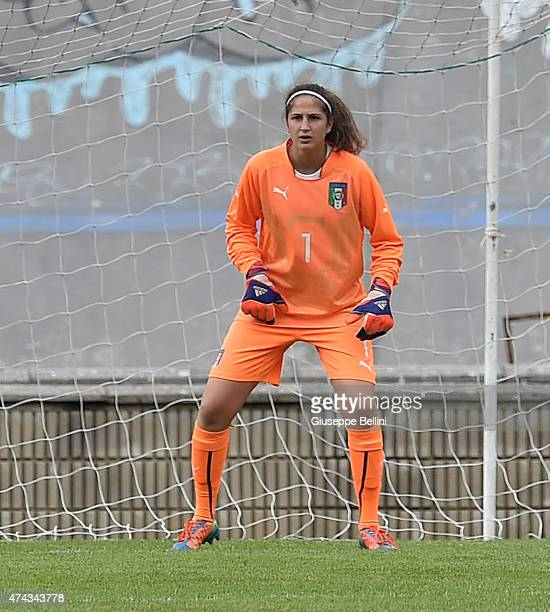 Francesca Durante of Italy in action during the women's U19 match between Italy and Belgium at Stadio Tommaso Fattori on May 19, 2015 in L'Aquila,...