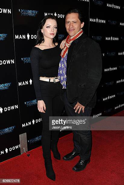 Francesca Eastwood and Clifton Collins Jr attend the premiere of 'Man Down' at ArcLight Hollywood on November 30 2016 in Hollywood California