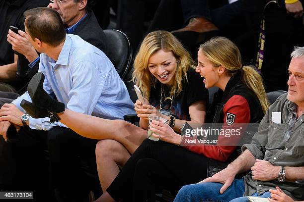 Francesca Eastwood and Elizabeth Whitson attend a basketball game between the Denver Nuggets and the Los Angeles Lakers at Staples Center on February...