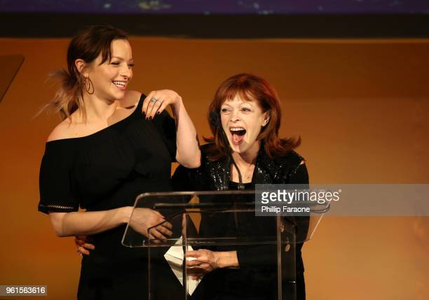Francesca Eastwood and Francis Fisher speak onstage during the 28th Annual Environmental Media Awards at Montage Beverly Hills on May 22 2018 in...