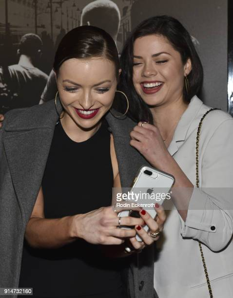 Francesca Eastwood and Morgan Eastwood take selfie together at the premiere of Warner Bros Pictures' The 1517 to Paris at Warner Bros Studios on...