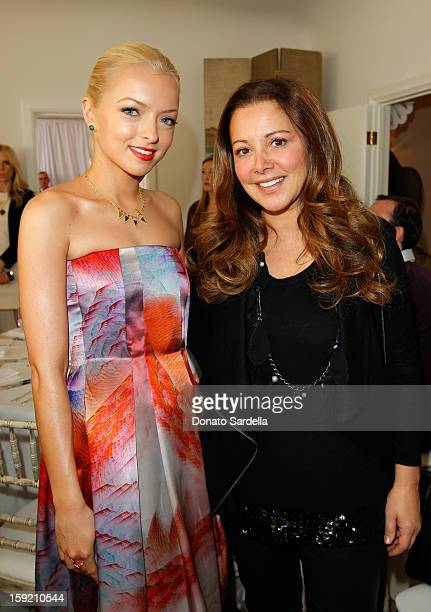 Francesca Eastwood and stylist Deborah Waknin attend a luncheon for Francesca Eastwood Miss Golden Globe 2013 hosted by LoveGold and held at Chateau...