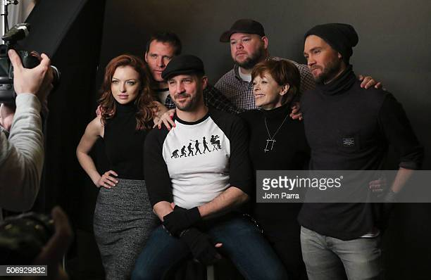 Francesca Eastwood ,Ben Browder,Director J.T. Mollner, Keith Loneker,Frances Fisher and Chad Michael Murray from the film 'Outlaws and Angels' posed...