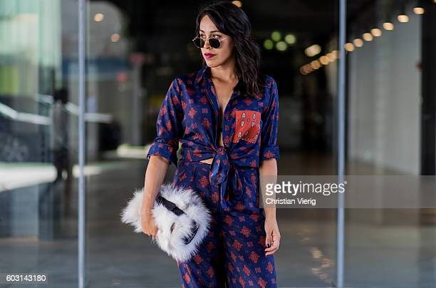 Francesca Felix is wearing House of Harlow 1960 x Revolve top and pants with Michael Kors collection bag on September 11, 2016 in New York City.