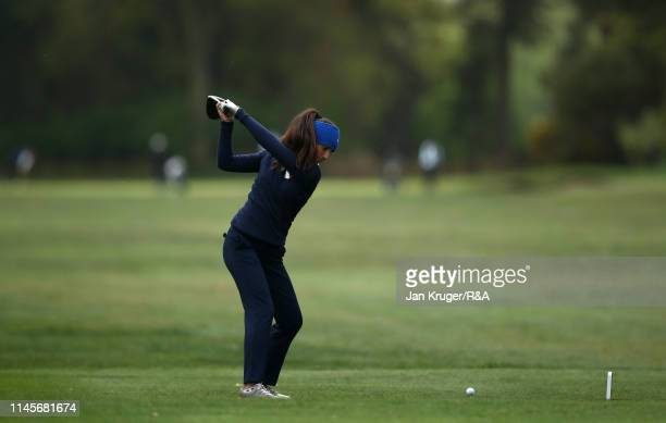 Francesca Fiorellini of Italy in action during the final round of the RA Girls U16 Amateur Championship at Fulford Golf Club on April 28 2019 in York...