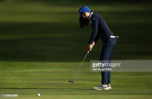 Francesca Fiorellini of Italy in action during the final round of the R&A Girls U16 Amateur Championship at Fulford Golf Club on April 28, 2019 in...