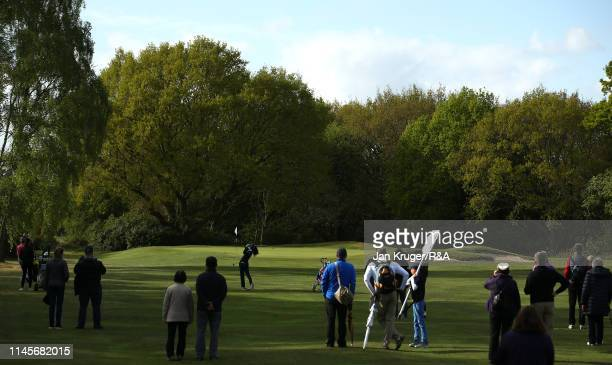 Francesca Fiorellini of Italy plays an approach shot during the final round of the R&A Girls U16 Amateur Championship at Fulford Golf Club on April...