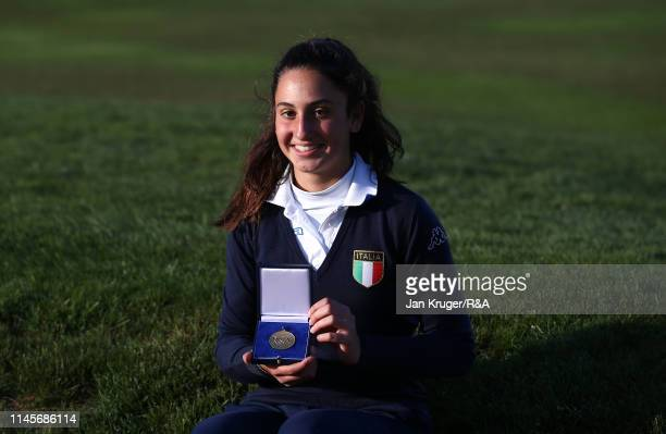 Francesca Fiorellini of Italy poses with her winners medal following victory during the final round of the R&A Girls U16 Amateur Championship at...