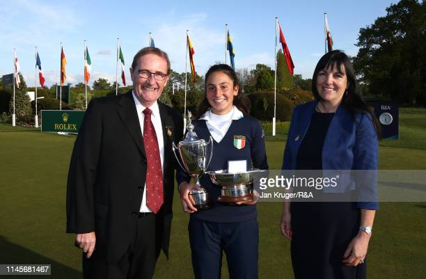 Francesca Fiorellini of Italy poses with joint Fulford GC Captains Janet Lawn and Ian Roberts during the final round of the R&A Girls U16 Amateur...