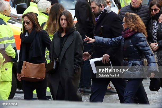 Francesca Fioretti companion of Davide Astori ahead of the funeral service on March 8 2018 in Florence Italy The Fiorentina captain and Italy...