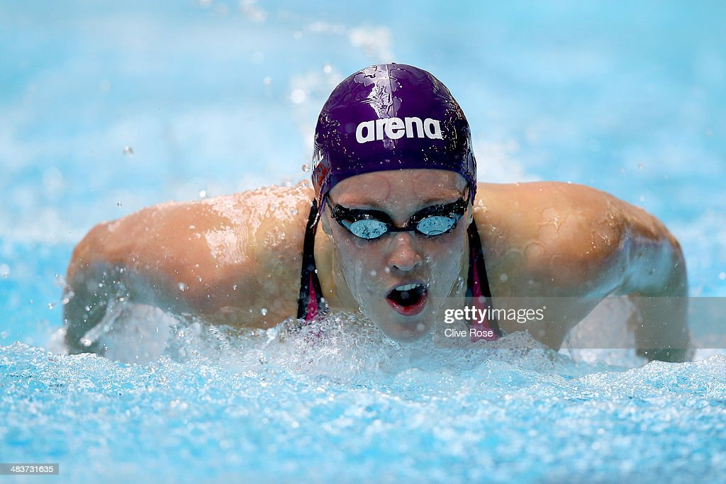 Francesca Halsall competes in the Women's 100m Butterfly heats on day one of the British Gas Swimming Championships 2014 at Tollcross International Swimming Centre on April 10, 2014 in Glasgow, Scotland.