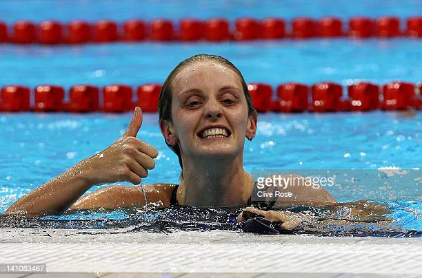 Francesca Halsall of Loughborough University S WPC gives the thumbs up after winning the Women's 50m Freestyle Final during day eight of the British...