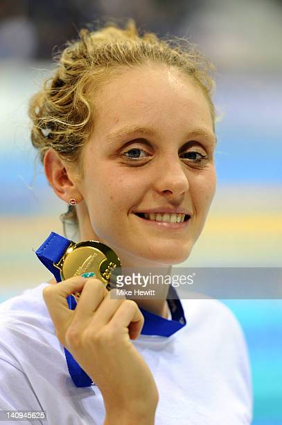 Francesca Halsall of Loughborough University S WPC wins Gold in the Women's 100m Freestyle Final during day six of the British Gas Swimming...