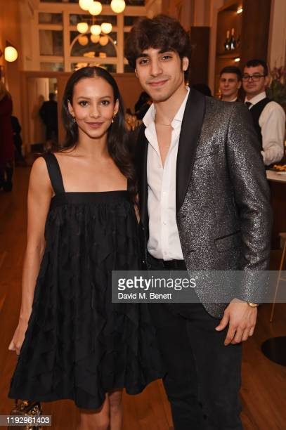 Francesca Hayward and Cesar Corrales attend the press night preshow reception for La Boheme at The Royal Opera House on January 10 2020 in London...