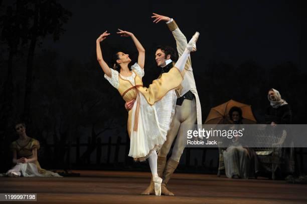 Francesca Hayward as Olga and Matthew Ball as Lensky in The Royal Ballet's production of John Cranko's Onegin at The Royal Opera House on January 16...