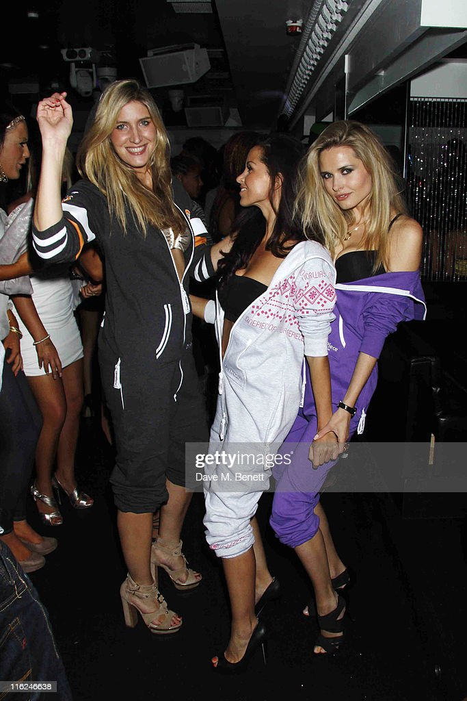 Francesca Hull and Funda Onal from the TV show 'Made In Chelsea' with model Agne Motiejunaite at the Bond Club, 24 Kingly Street on 10 June, 2011 in London,England.
