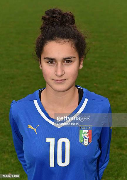 Francesca Imprezzabile of Italy poses during the official portrait session during stage of Italy Under 16 woman at Coverciano on January 13, 2016 in...