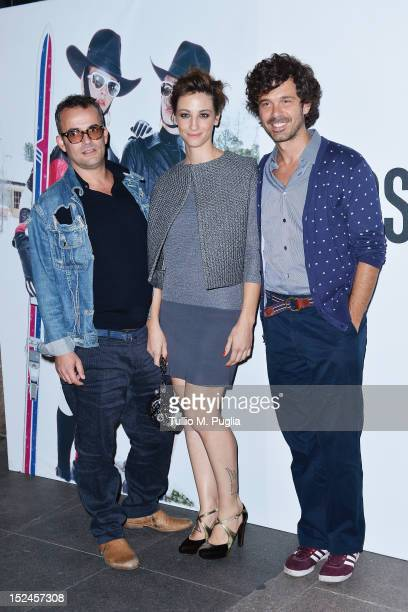 Francesca Inaudi and Andreas Mercante attend the Juergen Teller Dinner Hosted By Moschino during Milan Fashion Week Womenswear Spring/Summer 2013 at...