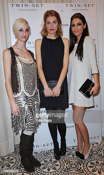 Francesca Inaudi, Claudia Zanella and Yolanthe Sneijder Cabau attend the Twin Set Cocktail Party as part of Milan Fashion Week Womenswear A/W 2011 on...
