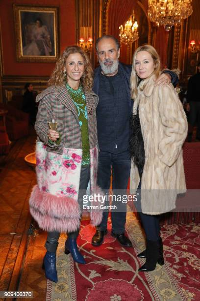 Francesca Kaufmann Bruce Sudano and Julie le Libran attend the Matchesfashioncom x Fabrizio Viti dinner at The Travellers Club on January 23 2018 in...