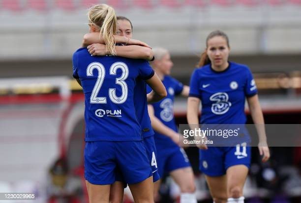 Francesca Kirby of Chelsea FC Women celebrates with teammate Pernille Harder of Chelsea FC Women after scoring a goal during the UEFA Women's...