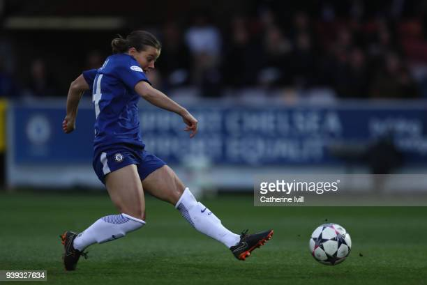 Francesca Kirby of Chelsea scores during the UEFA Womens Champions League QuarterFinal second leg match between Chelsea Ladies and Montpellier at The...